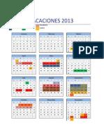 Calendario 2013 Vacaciones Ingenieria