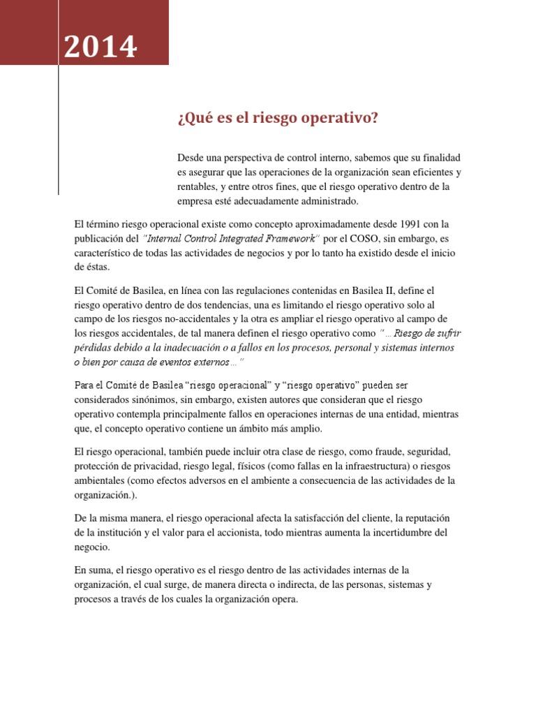 Qué Es El Riesgo Operativo 2