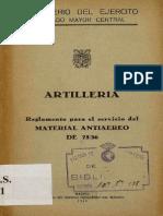 Artilleria_reglamento Para El Servicio Del Material Antiaereo de 75-36-1949