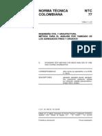 NTC 77 Método para el Análisis por Tamizado de los Agregados Finos y Gruesos.pdf