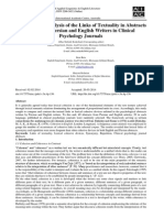 A Contrastive Analysis of the Links of Textuality in Abstracts Written by Persian and English Writers in Clinical Psychology Journals