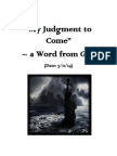 """""""My Judgment to Come"""" ―  a Word From God for America. (Given on 5/11/14.)"""