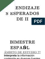 Aprendizajes Esperados de II Bimestre Español