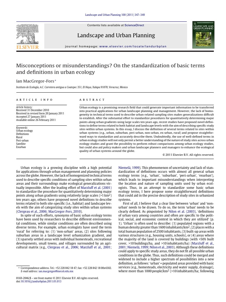 Definitions for Urban Ecology | Ecology | Rural Area