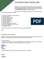Funciones en Excel 2003 y Excel 2007
