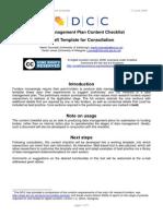 Data Management Plan Content Checklist