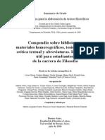 Compendio Sobre Bibliotecas, Materiales Hemerográficos, Tesis Doctorales, Crítica Textual y Abreviaturas-Información Útil Para Estudiantes