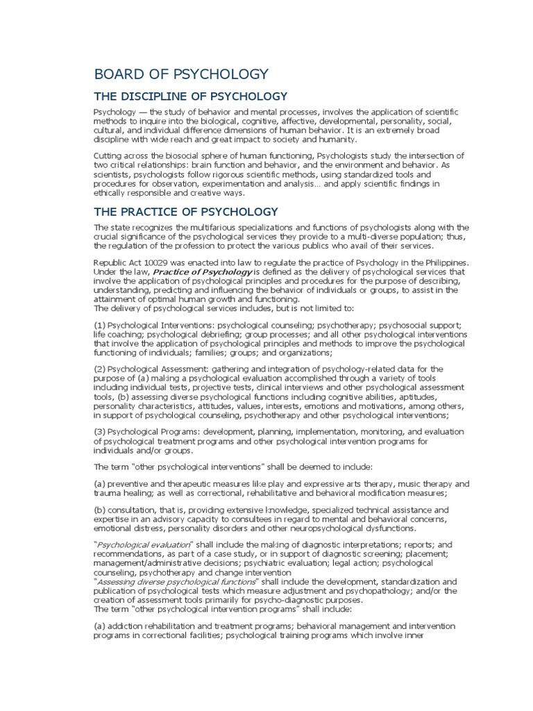 Board of psychology psychological evaluation psychotherapy altavistaventures Gallery