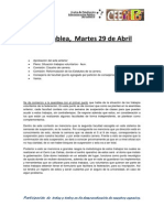 Acta Asamblea, Martes 29 de Abril