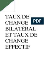 Taux de Change Bilatéral Et Taux de Change Effectif