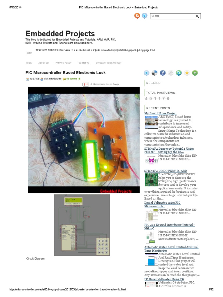 Pic Microcontroller Based Electronic Lock Embedded Projects Circuit Schematic Keypad Combination