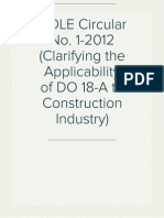 DOLE Circular No. 1-2012 (Clarifying the Applicability of DO 18-A to Construction Industry)