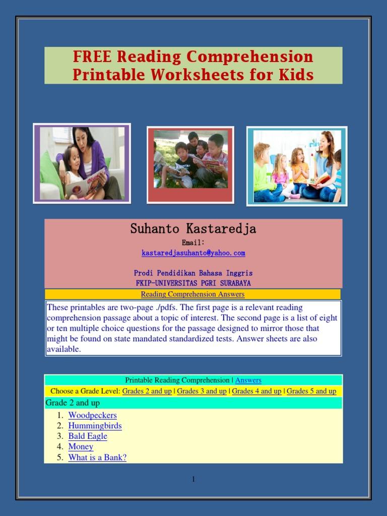 FREE Reading Comprehension Printable Worksheets for Kids ...