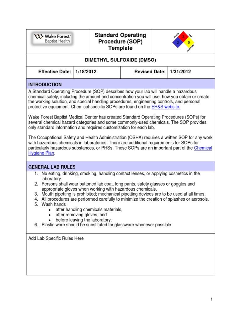 SOP Dimethyl Sulfoxide | Dimethyl Sulfoxide | Laboratories