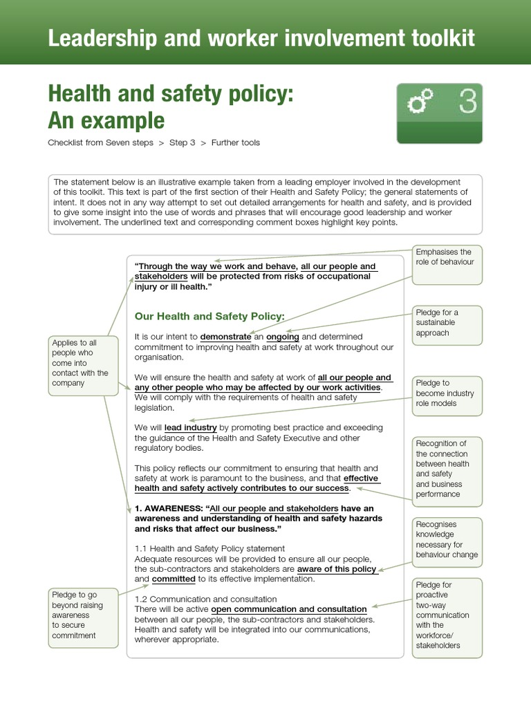 health and safety policy example unit 27 occupational safety and health safety