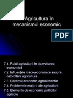 Agricultura in Mecanismul Economic