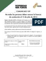 Comunicado 109 Mintransporte - Julio 2013