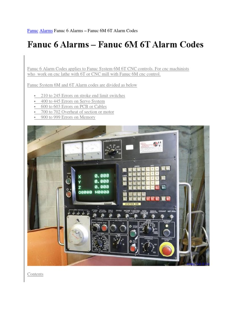 Fanuc Alarms Fanuc 6 Alarms | Parameter (Computer Programming