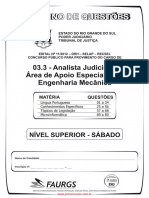 Prova Analista Judiciario Area de Apoio Espec Engenharia Mecanica 80q