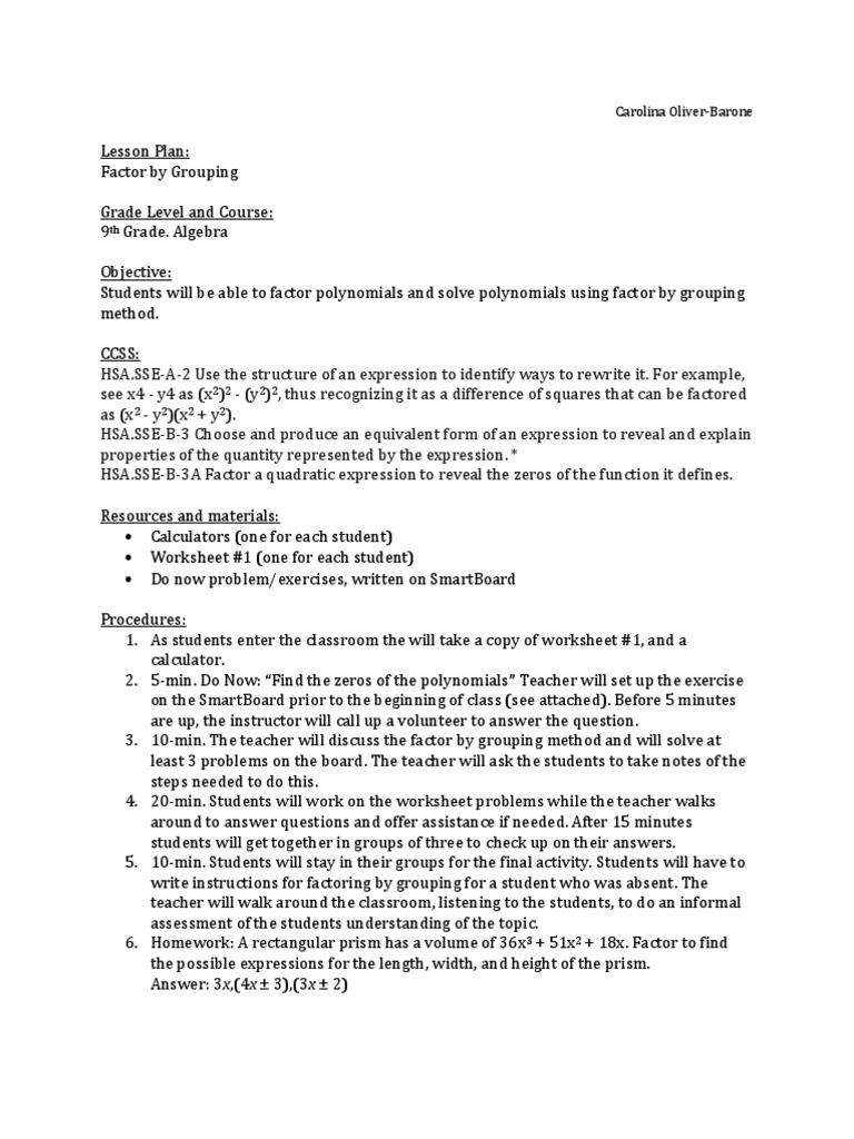 Factor By Grouping Worksheet multiplication timed test sheets