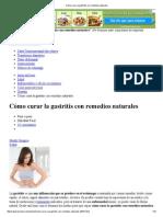 Cómo Curar La Gastritis Con Remedios Naturales
