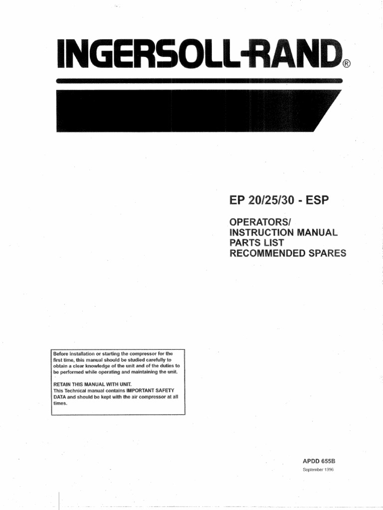 Ingersoll EP20 EP25 EP30 - ESP Instruction Manual Searchable   Gas  Compressor   Valve