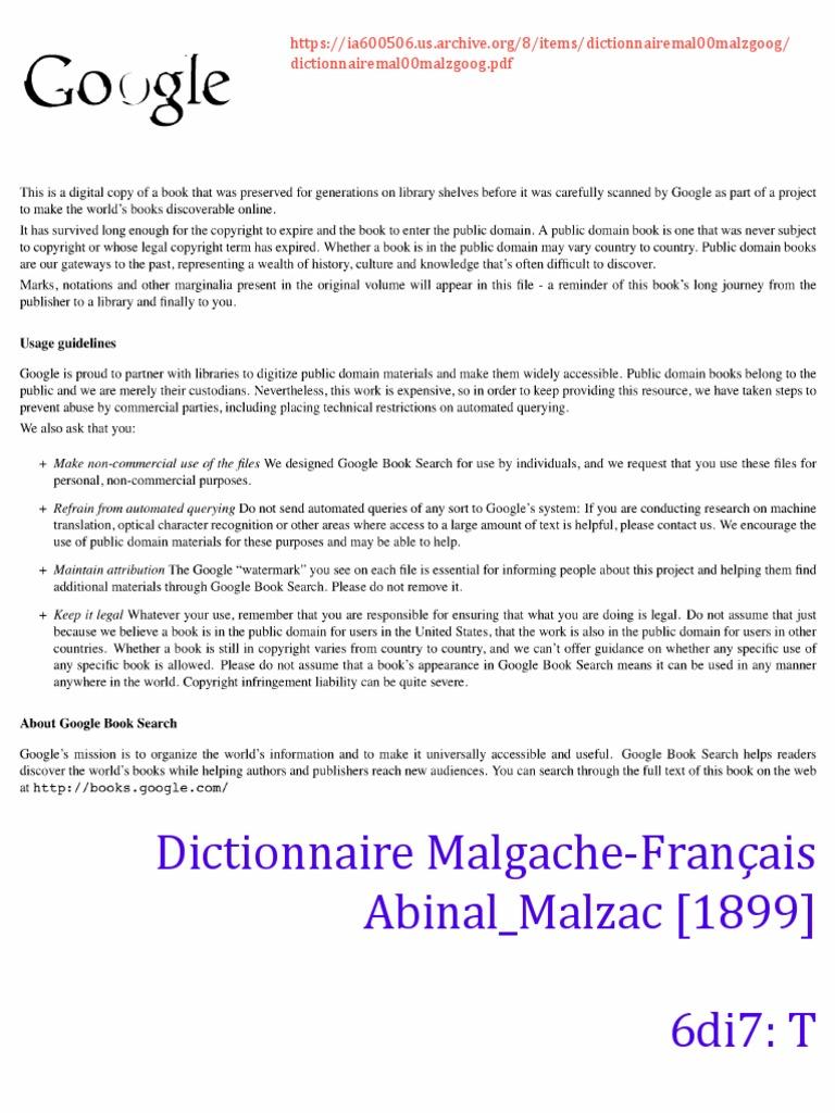 T (6di7) - Dictionnaire Malgache-Français Abinal Malzac  1899    Nature d57c136fb33d