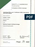 Certificate BEC