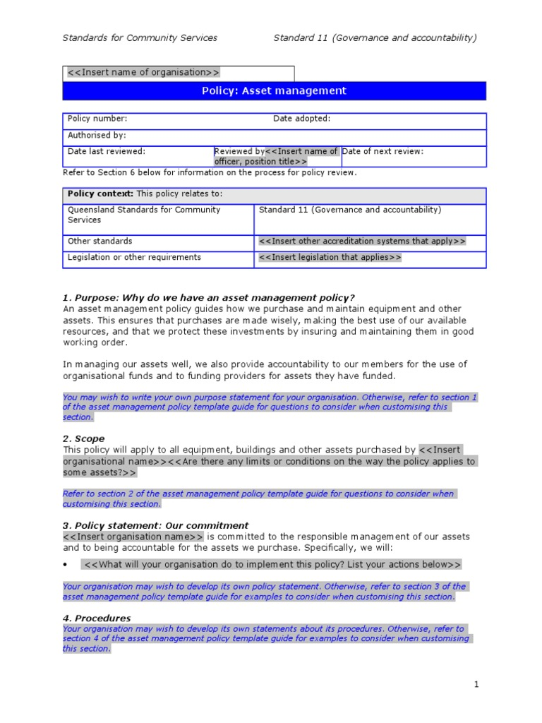 115 asset management policy template policy insurance