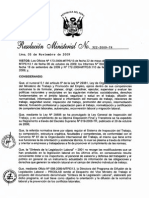 RESOLUCIÓN MINISTERIAL N° 322-2009-TR