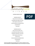 Community Table Kitchen Menus
