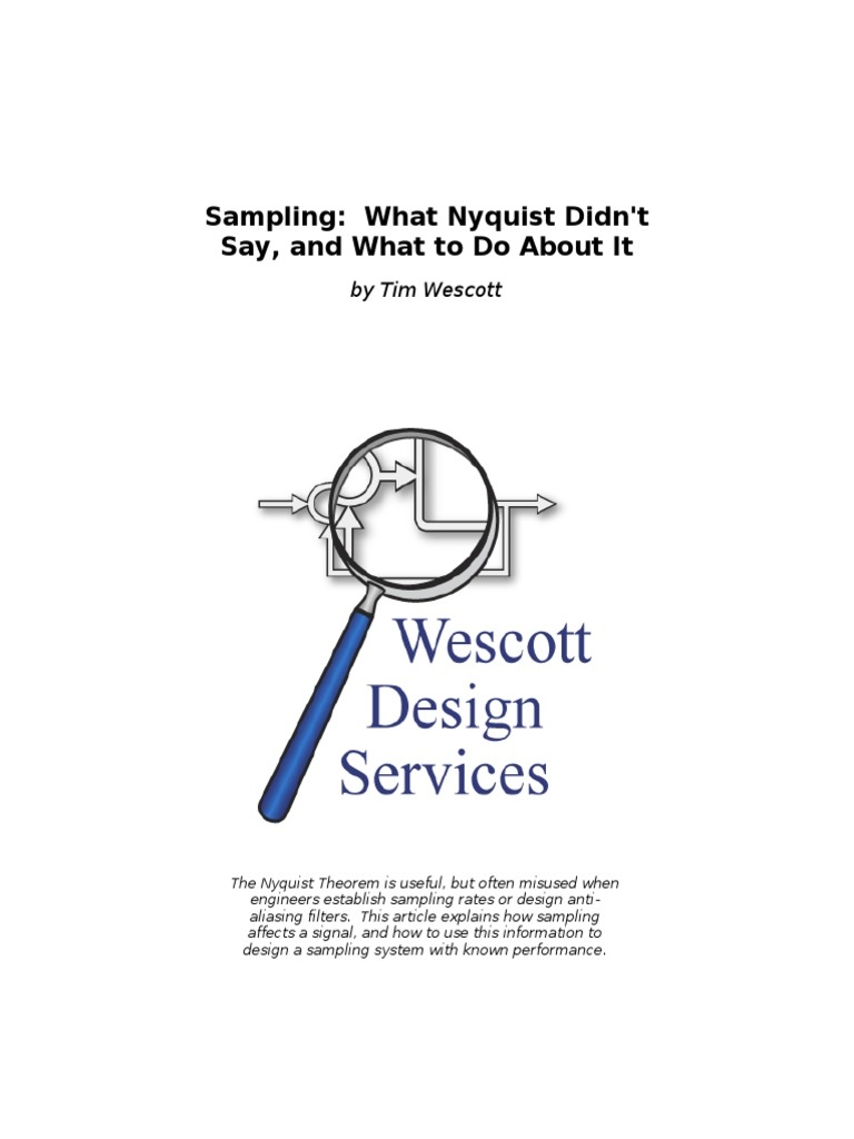 Sampling What Nyquist Didn t Say and What to Do About It Wescott | Sampling  (Signal Processing) | Filter (Signal Processing)