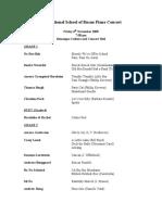 ISB Piano Concert - Programme