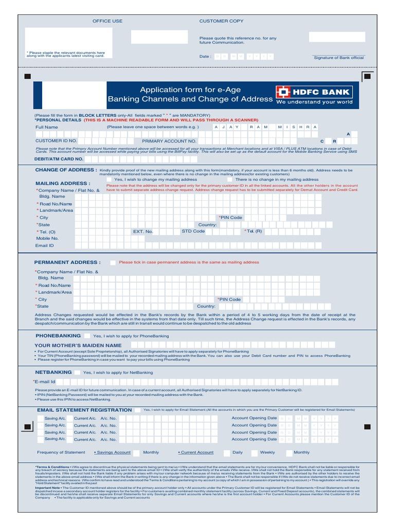 E-Age Banking Form | Debit Card | Transaction Account