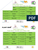 Morfa Family Centre Themed Timetable May-June 2014