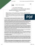 """""""La Injusticia Social Provoca Problemas de Salud y Muerte Prematura a Gran Escala"""""""