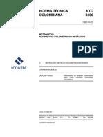 NTC 3436 Metrología Recipientes Volumetricos Metalicos