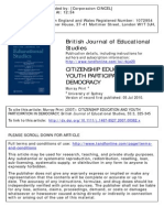 Citizenship Education and Youth Participation in Democracy