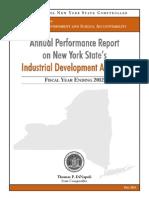 Industrial Development Agencies Report Fiscal Year Ending 2012