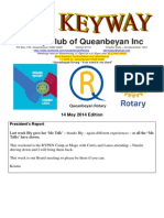 The Keyway - weekly newsletter for the Rotary Club of Queanbeyan - 14 May 2014 edition
