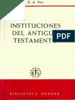 De Vaux, Roland Instituciones Del Antiguo Testamento