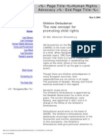 Children Ombudsman-The New Concept for Promoting Child Rights