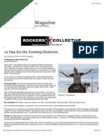 13 Tips for the Touring Musician | Music Insider Magazine