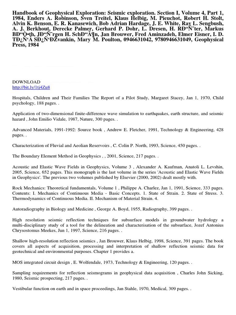 Handbook of Geophysical Exploration Seismic Exploration ...