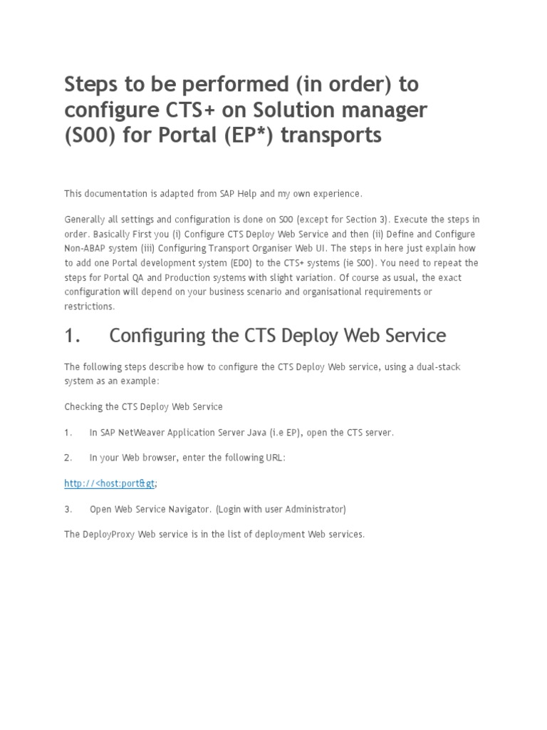 Steps to be performed to configure CTS+ on Solution manager