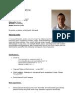CV Fitness Instructor