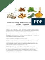 Reduce Ácidos y Mejora Tu Salud Tomando Hierbas y Especias