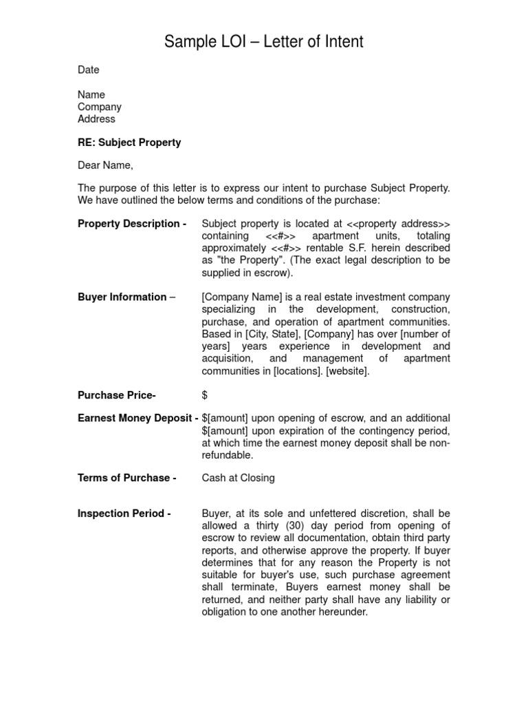 Sample Letter of Intent LOI Real Estate Investing – Loi Sample Letter
