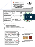 Teste de Estudo Meio 3ºano - 3º Período Solos-Rochas