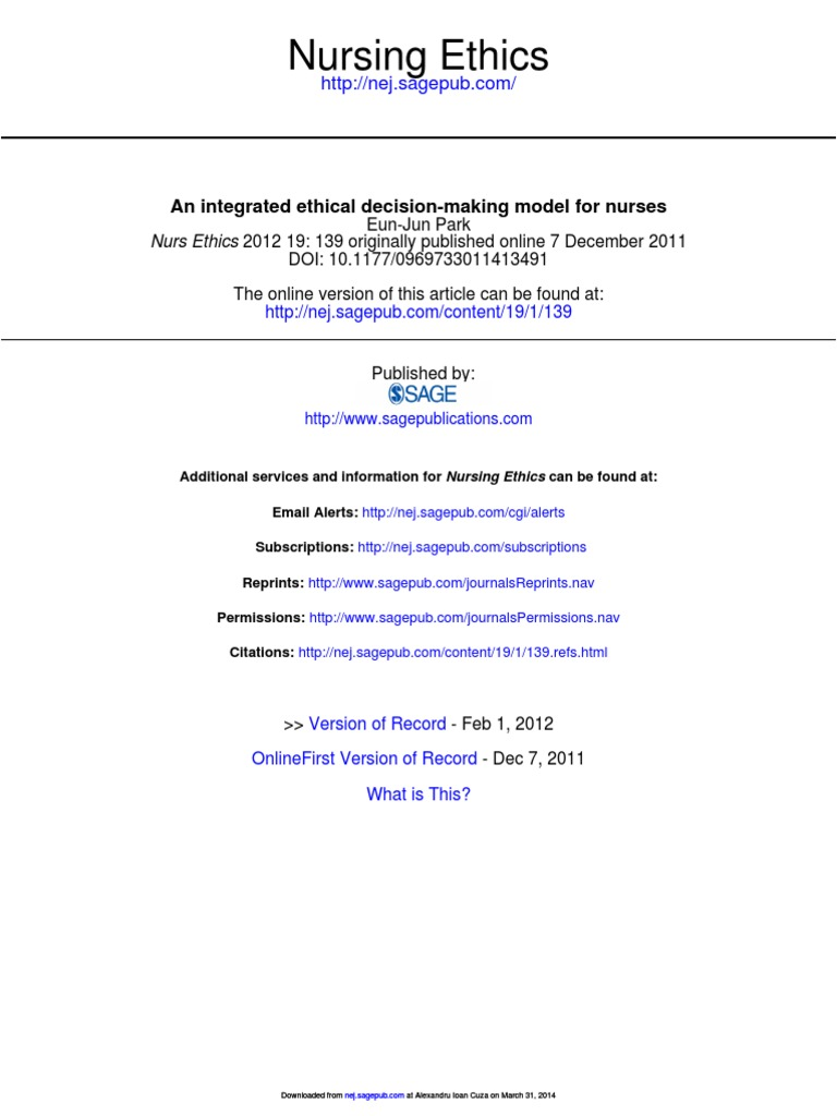 11 an Integrated Ethical Decision-making Model for Nurses